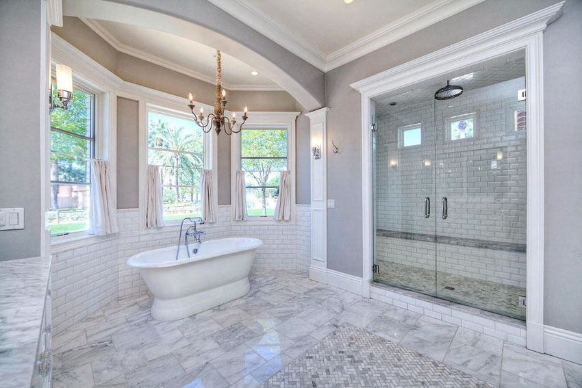 houston large luxury bathroom with white subway tile and - White Subway Tile Shower
